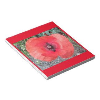 Libreta roja de la foto 2 de la amapola bloc de notas