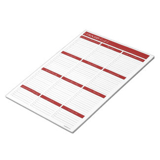 Libreta roja de la lista de compras blocs de notas