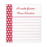 Libreta roja personalizada del punto blocs de notas