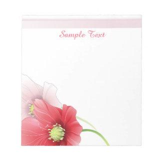 Libreta roja y rosada de las amapolas libretas para notas