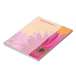 Libreta rosada anaranjada personalizada de la marg bloc de papel