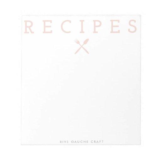 """Libreta rosada de las """"recetas"""" de la cocina blocs de papel"""