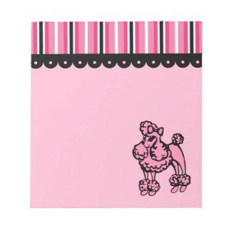 Libreta rosada del caniche bloc de notas