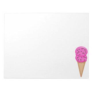 Libreta rosada del cono de helado bloc de papel