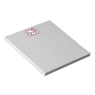 Libreta rosada del cráneo de la cinta de Kawaii Libretas Para Notas