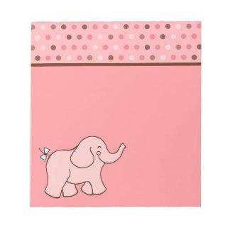 Libreta rosada del elefante del bebé del punto blocs