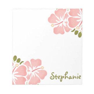 Libreta rosada del hibisco personalizada bloc de notas