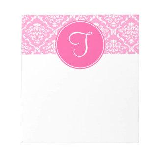 Libreta rosada del monograma del damasco libreta para notas