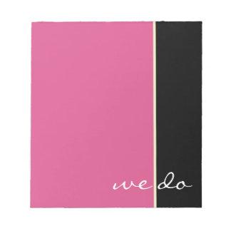 Libreta rosada y negra del boda blocs de notas