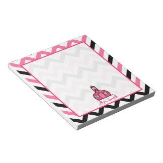 Libreta rosada y negra del profesor del zigzag bloc