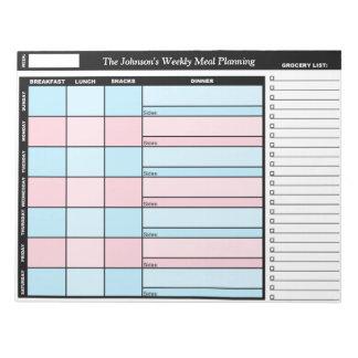 Libreta semanal de encargo azul y rosada del plane libretas para notas
