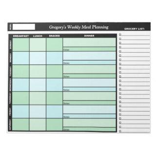 Libreta semanal de encargo verde y azul del planea blocs de papel