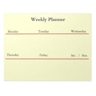 Libreta semanal del planificador (blanca) blocs de notas
