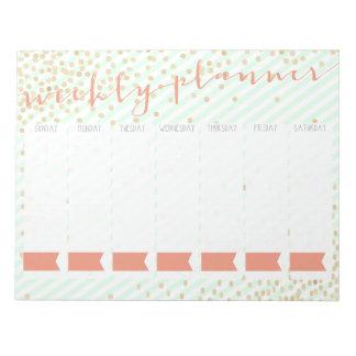 Libreta semanal del planificador blocs de notas