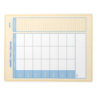 Libreta semanal del planificador del menú libreta para notas
