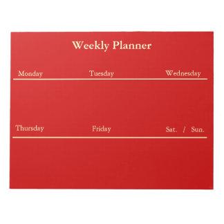 Libreta semanal roja del planificador bloc