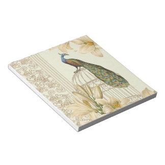 Libreta sofisticada del pavo real del vintage y de libreta para notas