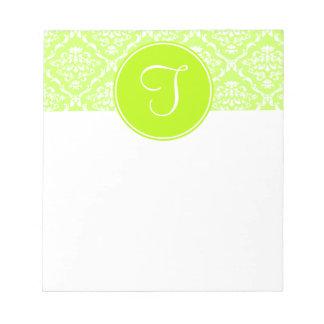 Libreta verde del monograma del damasco blocs