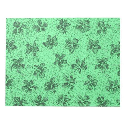 Libreta verde polvorienta de las violetas retras d bloc de notas