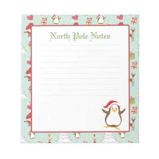 Libretas alineadas pingüino del navidad del día de blocs de notas