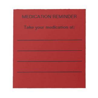Libretas del recordatorio de la medicación libreta para notas