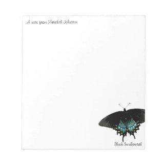 Libretas negras de la foto de la mariposa del swal libretas para notas