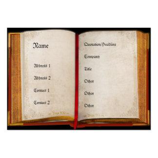 Libro abierto viejo tarjeta de visita