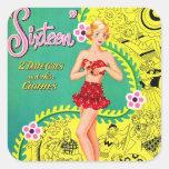 Libro adolescente del dulce dieciséis del chica pegatina cuadrada