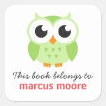 Libro animal del bookplate del dibujo animado del pegatina cuadradas personalizada
