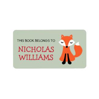 Libro animal del bookplate del dibujo animado lind etiquetas de dirección