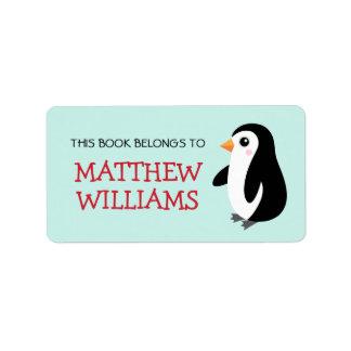 Libro animal del bookplate del pingüino lindo del  etiqueta de dirección
