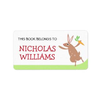 Libro animal lindo del bookplate del conejo de etiquetas de dirección
