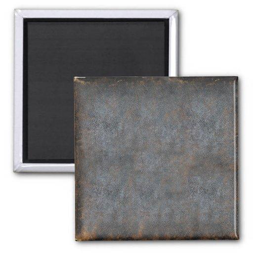 Libro antiguo de cuero gastado imán cuadrado