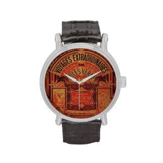 Libro antiguo de los viajes extraordinarios de relojes de mano