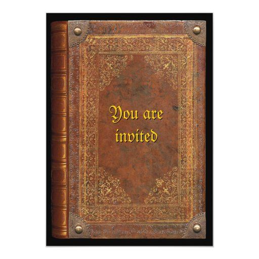 "Libro antiguo invitación 5"" x 7"""