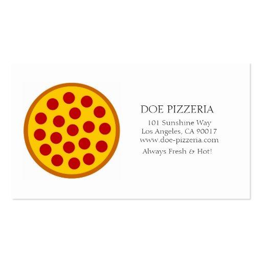 Libro Blanco de la comida italiana de la pizzería Tarjetas De Visita