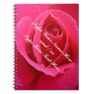 Libro color de rosa rosado romántico personalizado libros de apuntes con espiral