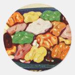 Libro de cocina azucarado comida retra de las nuec pegatinas redondas