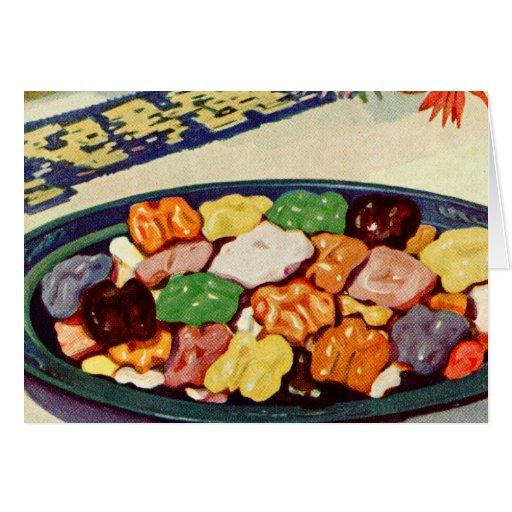 Libro de cocina azucarado comida retra de las nuec felicitación
