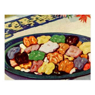 Libro de cocina azucarado comida retra de las nuec tarjetas postales