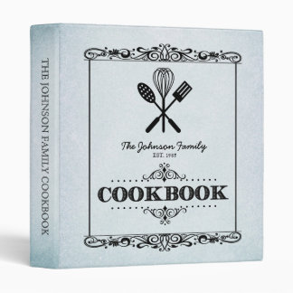 """Libro de cocina de papel envejecido aguamarina de carpeta 1"""""""