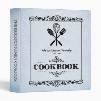 """Libro de cocina de papel envejecido azul de la carpeta 1"""""""