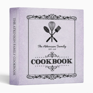 """Libro de cocina de papel envejecido lila de la carpeta 1"""""""