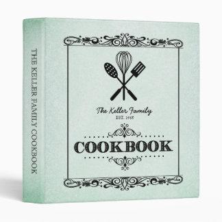 """Libro de cocina de papel envejecido verde de la carpeta 1"""""""