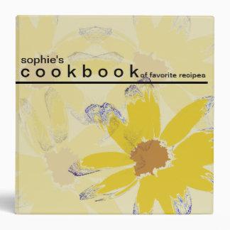 """Libro de cocina floral personalizado de la receta carpeta 2"""""""