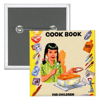 Libro de cocina retro del kitsch del vintage para  pin cuadrada 5 cm