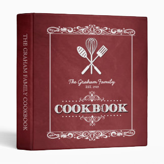 "Libro de cocina rojo de la familia de la pizarra carpeta 1"""