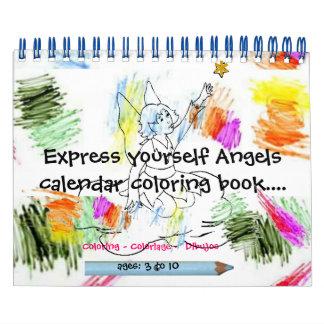 Libro de colorear expreso del calendario del ángel