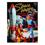 Libro de colorear feliz del vintage del espacio re postal