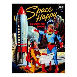 Libro de colorear feliz del vintage del espacio tarjeta postal